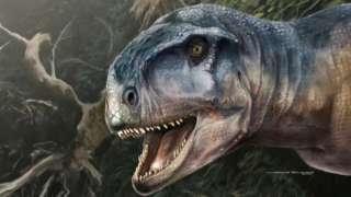 Ilustração do Llukalkan aliocranianus a partir de características descobertas por cientistas na Argentina