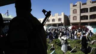 Yemenis attend the funeral of slain Houthi fighters, who were allegedly killed in the country's recent fierce fighting, at a cemetery in Sanaa, Yemen, on 18 March 2021