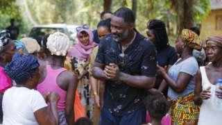 Idris Elba campaigning in Sierra Leone