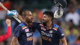 India's Hardik Pandya and Sheryas Iyer celebrate beating Australia
