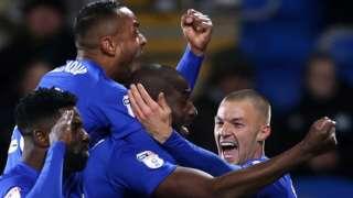 Sol Bamba and his Cardiff team-mates celebrate