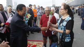 Passengers released from the MS Westerdam cruise ship in Cambodia