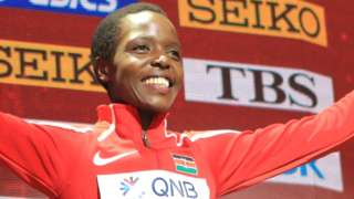 The late Agnes Tirop celebrating her 10,000m bronze medal at the 2019 World Athletics Championships