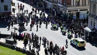 Outside Windsor Castle during Duke of Edinburgh funeral