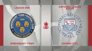 Shrewsbury Town v Oxford City badge graphics