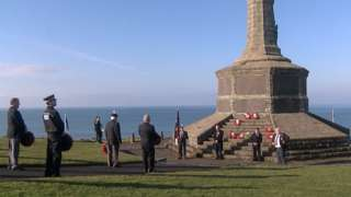 Wreaths were laid during the ceremony at Aberystwyth, Ceredigion