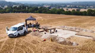 Aerial view of the excavation at the burial site