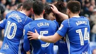 Birmingham players celebrate a goal