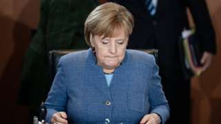 German Chancellor Angela Merkel sits during the beginning of the weekly meeting of the German Federal cabinet at the Chancellery in Berlin, Germany, 22 November 2017.
