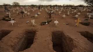 Fresh dug graves are pictured at the El Centinela cemetery, amid the coronavirus disease (COVID-19) pandemic, in Mexicali, Mexico March 23, 2021