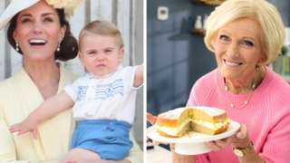 Duchess of Cambridge with Prince Louis, Mary Berry