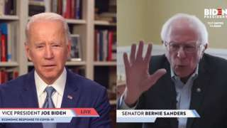 Screengrab taken from JoeBiden.com campaign website, Bernie Sanders endorses Democratic presidential candidate Joe Biden during a live streaming broadcast on April 13, 2020