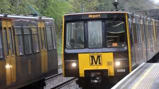 A Metro train bound for Newcastle Airport