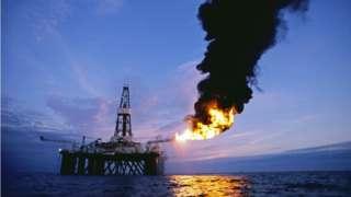 Oil Exploration Platform Burns on Natural Gas