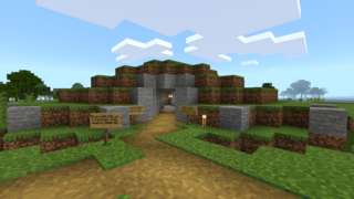 Minecraft representation of Bryn Celli Ddu passage tomb on Anglesey
