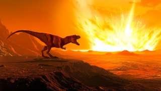 Ilustração mostra tiranossauro rex e impacto de asteroide