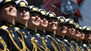 Servicewomen march during a Victory Day military parade in Red Square marking the 75th anniversary of the victory in World War II, on June 24, 2020 in Moscow,