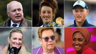 (Clockwise from top left) Iain Duncan Smith, Jade Jones, Ben Stokes, Nadiya Hussain, Elton John, Gabby Logan