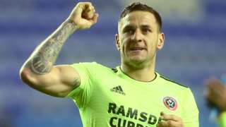 Billy Sharp celebrates Sheffield United's win at Wigan