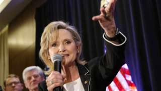 Republican US Senator Cindy Hyde-Smith speaks during an election night party in Jackson, Mississippi, November 27, 2018