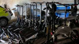 Some of the 23 e-scooters which have been seized in the last few weeks