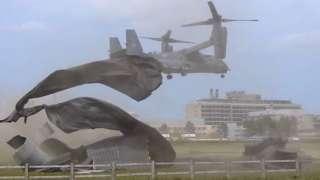 Aircraft draft rips up hospital helipad