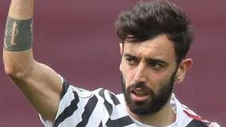 Bruno Fernandes celebrates scoring against Aston Villa