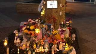 The shrine set up in Bradley Wernham's memory in Harlow