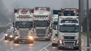 Articulated lorries on a motorway