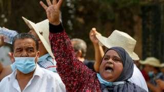 Nahda destekçilerinin düzenlediği protestolardan bir kare