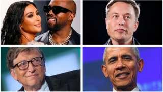 金·卡戴珊·韋斯特、坎耶·韋斯特、埃隆·馬斯克、比爾·蓋茨及巴拉克·奧巴馬賬戶均被黑客攻擊。