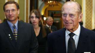 The Duke of Edinburgh, Sir David and his daughter Alicia at a reception to mark the 50th anniversary of the Duke of Edinburgh awards in October 2005