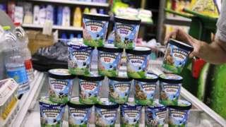 A man buys Ben & Jerry's ice cream in Jerusalem