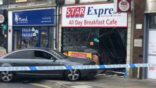 The car that crashed into the Star Express Cafe
