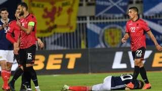 Albania captain sent off