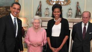 Barack and Michelle Obama pose for a photo with the Queen and Prince Philip