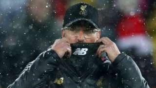 Liverpool manager Jurgen Klopp in the snow
