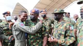 Flight Lieutenant Abayomi Dairo wit Chief of Air Staff, Air Marshal Oladayo Amao