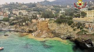 The cliffs of fishing village Camogli are prone to collapse authorities say