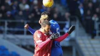 Bruno Ecuele Manga of Cardiff City and Lois Diony of Bristol City compete for the (aerial) ball