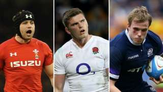 (left to right) Leigh Halfpenny of Wales, Owne Farrell of England and Jonny Gray of Scotland