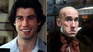 John Travolta and Simon Callow in a 1996 BBC production of David Copperfield