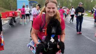Jody Reed and her running partner, Sydney the dog