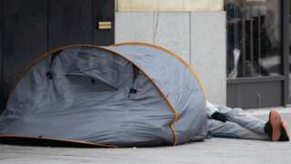 Homeless person in a tent