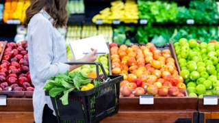 Woman buying vegetables and fruit