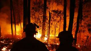 Crews monitor fires in east Gipplsland, Australia, on 02 January, 2020