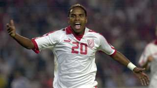 Jose Clayton celebrates a goal for Tunisia in 2006