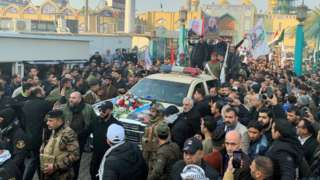 People gather at the funeral of the Iranian Major-General Qassem Soleimani, top commander of the elite Quds Force of the Revolutionary Guards, and the Iraqi militia commander Abu Mahdi al-Muhandis