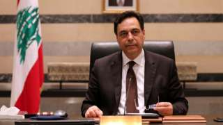 Lebanese Prime Minister Hassan Diab chairs a cabinet meeting on 10 August 2020