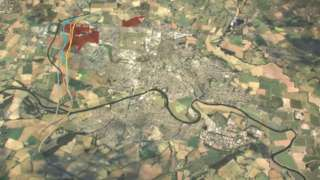 Aerial view of Hereford with proposed routes